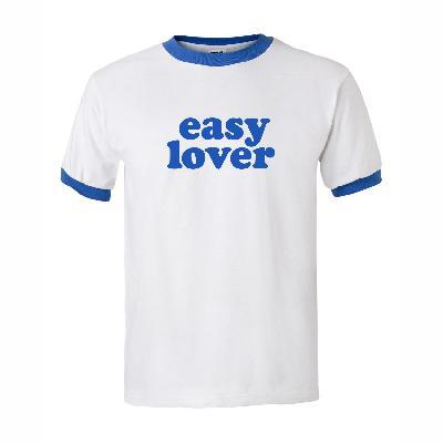 """Kommerz mit Herz T-Shirt """"Easy Lover"""" (Blau) Shirt Weiss"""